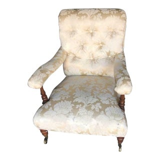 Late 19th Century Antique Mahogany Upholstered Victorian Nursing G Arm Chair For Sale
