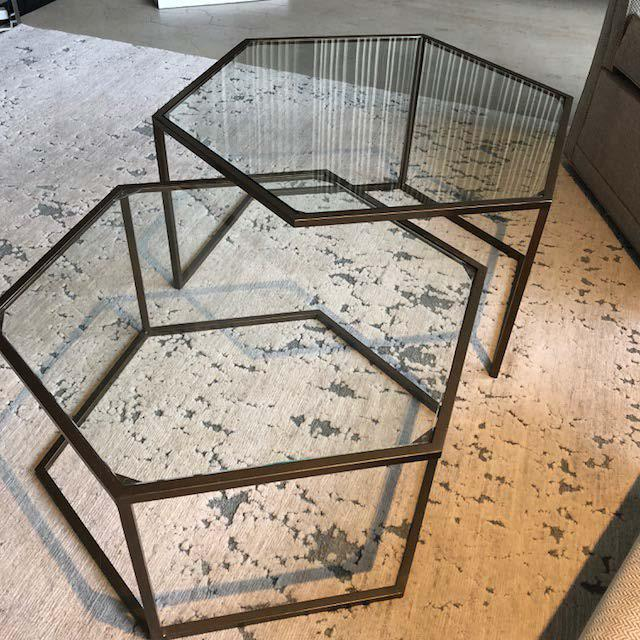 Boston floor sample Bijou nest of two tables Metal and glass Tuscan gold finish