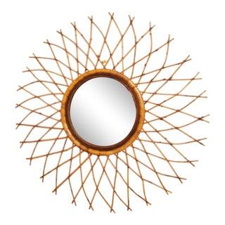 1970s Boho Chic Bamboo Sunburst Mirror