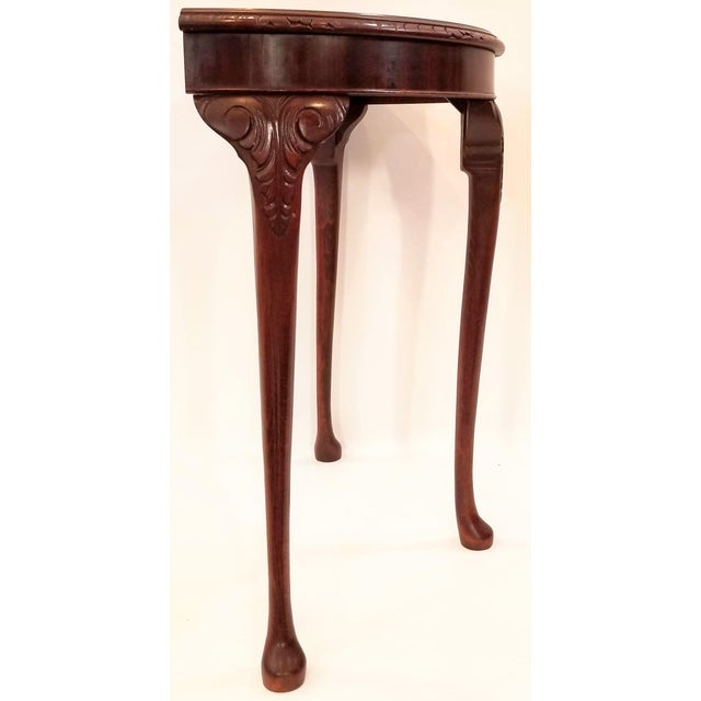 English Edwardian Flame Mahogany Topped Georgian Style Demi-Lune Console Table For Sale - Image 4 of 9