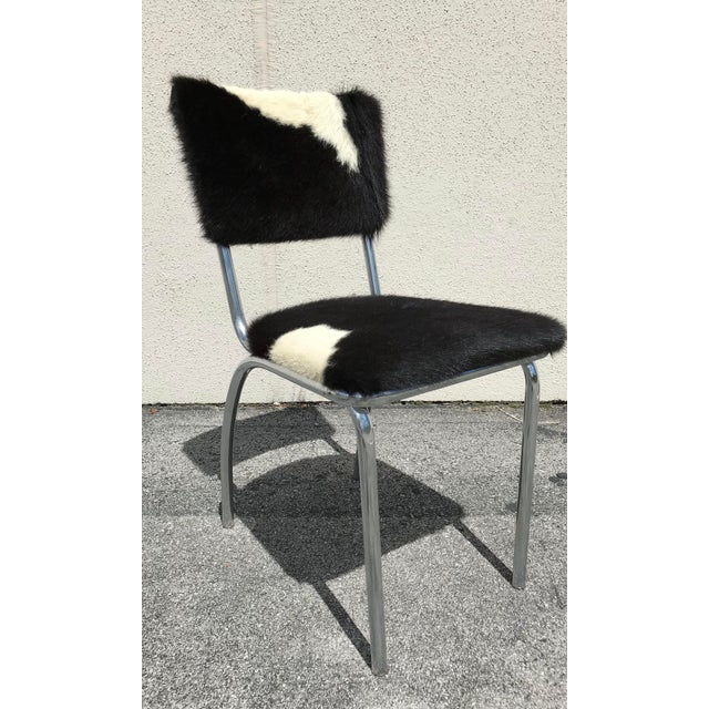 Cowhide Upholstered Chrome Chairs - Set of 4 For Sale In Nashville - Image 6 of 11