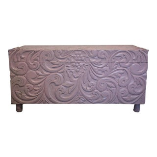 Mid-Century Pink Painted Carved Wooden Chest For Sale