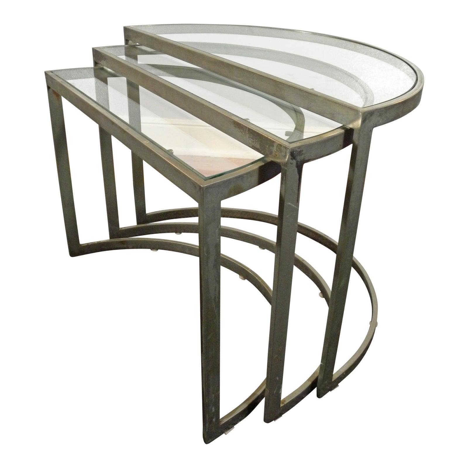 Vintage Mid Century Modern Glass & Metal Nesting Tables  Set