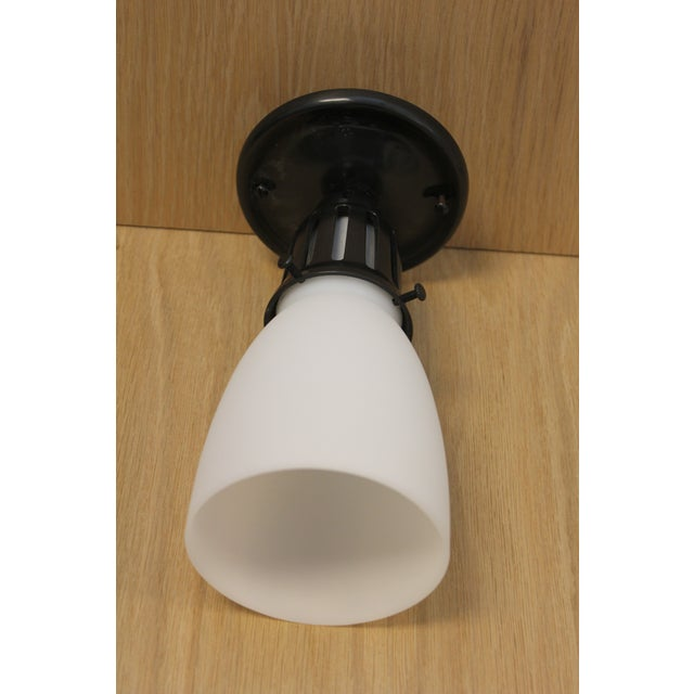 Urban Archaeology, Petite Luminaire Flush Mount, Statuary Black Gloss, Frosted Glass retail price at $520.00 each.