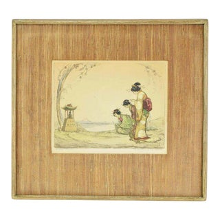 """1920's Hand Colored Etching """"The Little Shrine"""" 3 Geishas Praying For Sale"""
