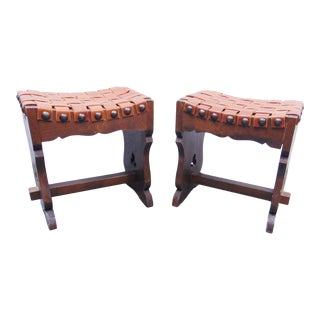 Arts & Crafts Pine & Leather Stools - a Pair For Sale