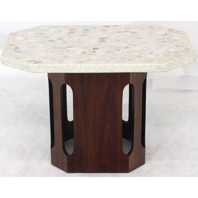Oiled Walnut Base Terrazzo Top Side Table For Sale - Image 9 of 10