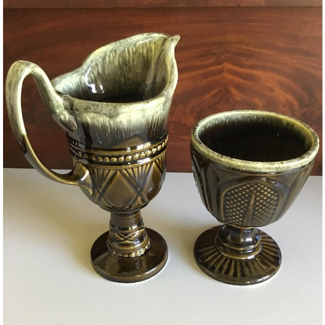 Hull Pottery Brown and Green Glazed Chalice and Footed Pitcher - a Pair For Sale - Image 12 of 13
