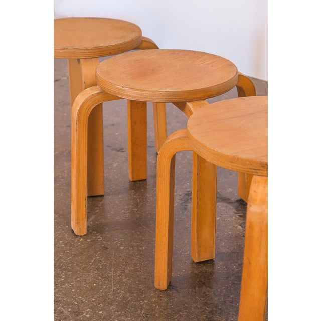 1960s 1960s Alvar Aalto Style Small Stacking Stools - Set of 3 For Sale - Image 5 of 9