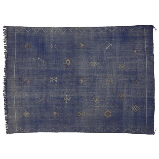 Vintage Moroccan Cactus Silk Kilim - 8'11 x 12'6'' For Sale