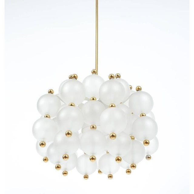 Mid-Century Modern Satin Glass Chandelier Lamp in the Style of Seguso With Gold Knobs, circa 1980 For Sale - Image 3 of 10
