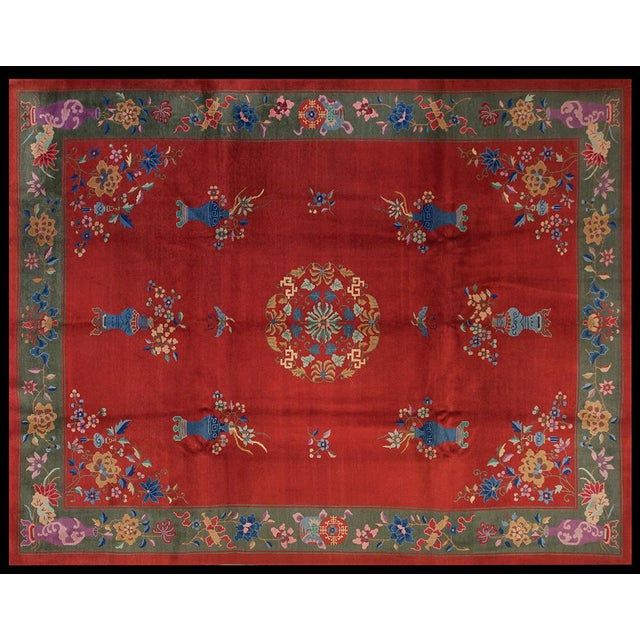 """Textile 1930s Chinese Art Deco Rug - 9'x11'9"""" For Sale - Image 7 of 7"""