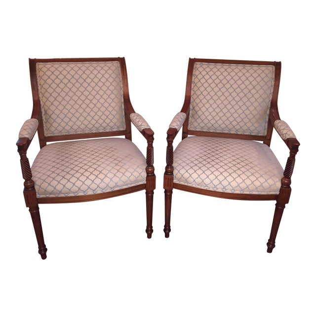 Beige & Blue Occasional Armchairs - A Pair - Image 1 of 6