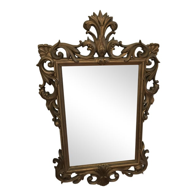 Mid-Century Gold Scroll Mirror - Image 1 of 9