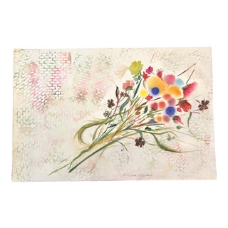 Original Vintage Pop Art Flowers Watercolor Painting Signed 1970's For Sale