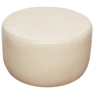 Round Leather Ottoman For Sale