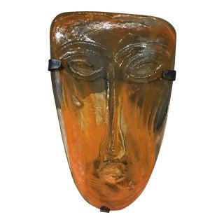 1960s Erik Hoglund Kosta Boda Orange Swirl Art Glass Mask Candle Sconce For Sale