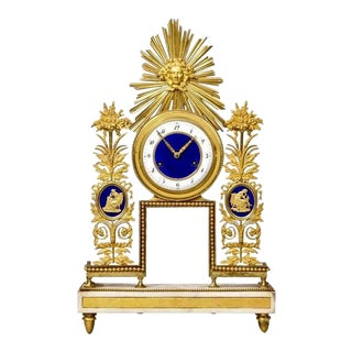 Late 18th Century French Sunburst Motif Ormolu and Enamel Clock For Sale