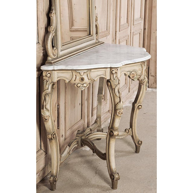 19th Century Italian Hand Painted Console and Mirror With Cararra Marble For Sale - Image 11 of 13
