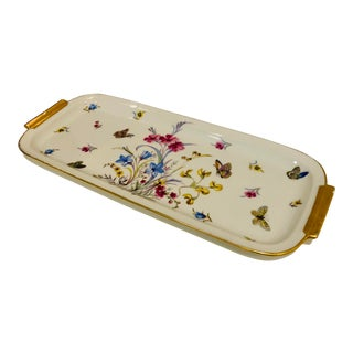 1960s Vintage Limoges Butterfly Motif Porcelain Dresser Tray For Sale