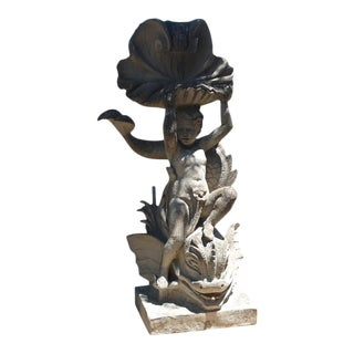 Cast Stone Putto and Dolphin Fountain Element Statue, France For Sale