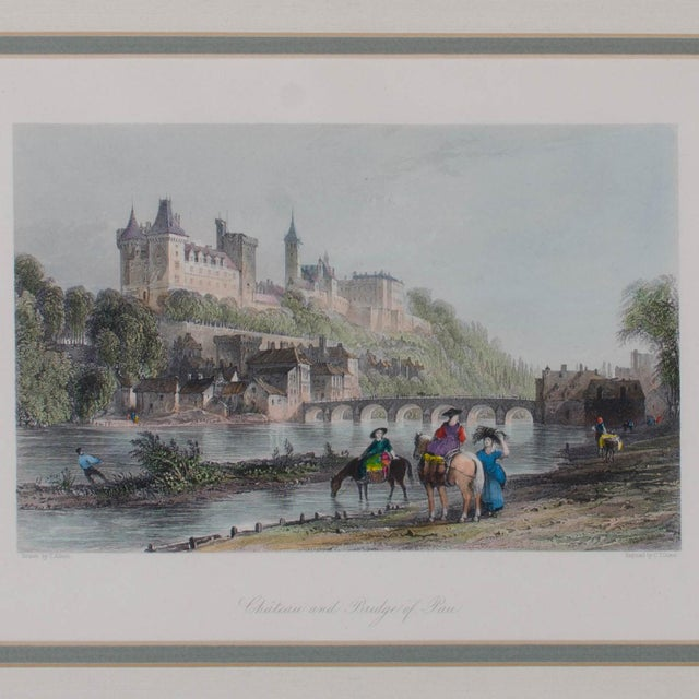 French 1841 Chateau and Bridge of Pau Steel Engraving For Sale - Image 3 of 3