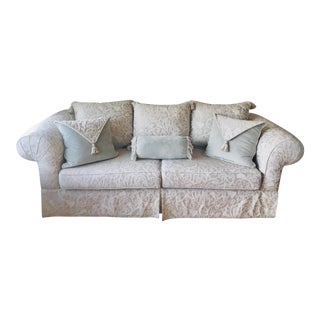 Greige and Silver Sage Damask Sofa With Velvet Accent Pillows For Sale