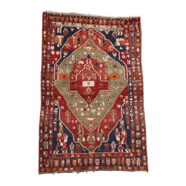 Vintage Persian Bakhtiari Rug with Modern Tribal Style For Sale