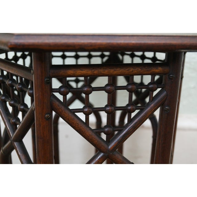 Antique Oak Stick & Ball Hexagon Taboret Plant Stand For Sale In Philadelphia - Image 6 of 10
