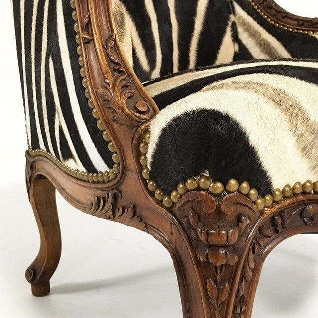 Vintage Carved Chair in Zebra Hide - Image 6 of 11