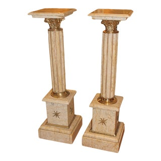 Marble & Brass Column Pedestals - a Pair For Sale