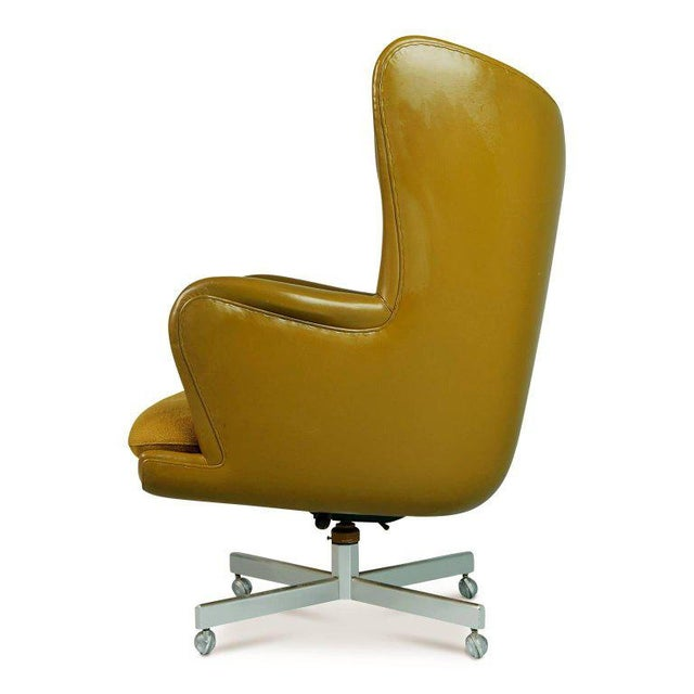 George Kasparian Dramatic Executive Wingback Chair and Ottoman by George Kasparian, Circa 1960 For Sale - Image 4 of 11