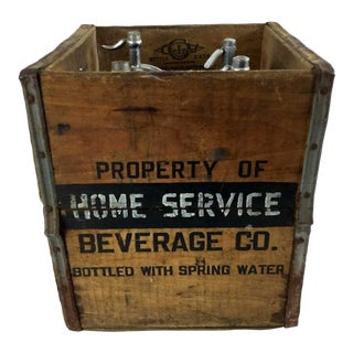 Vintage Brownes Mule Seltzer Bottles in Wood Crate