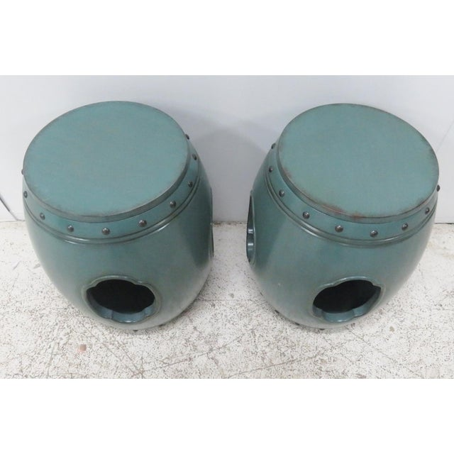 Asian Green Lacquered Garden Stools- A Pair - Image 3 of 8