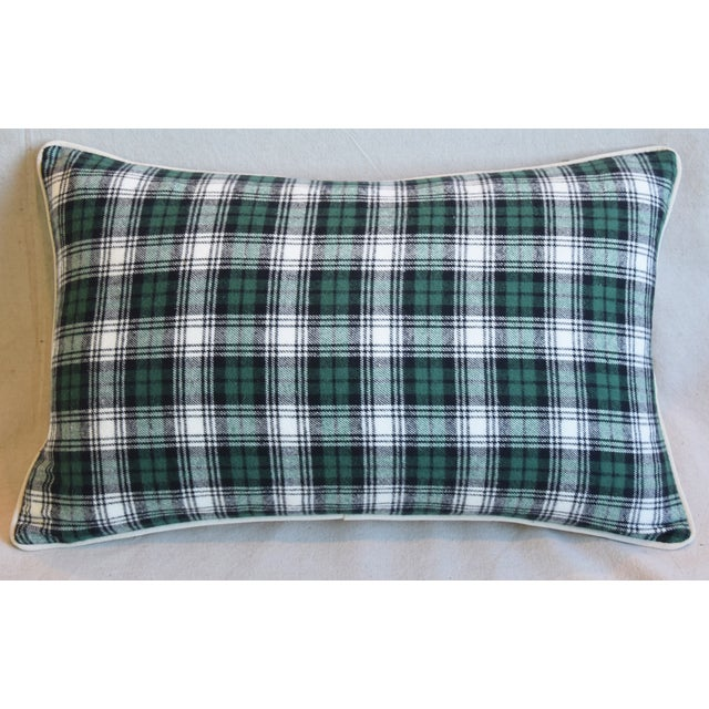 Custom-tailored pillow in green, black and white cotton tartan plaid fabric. Bone-white cotton velvet back. Custom-...