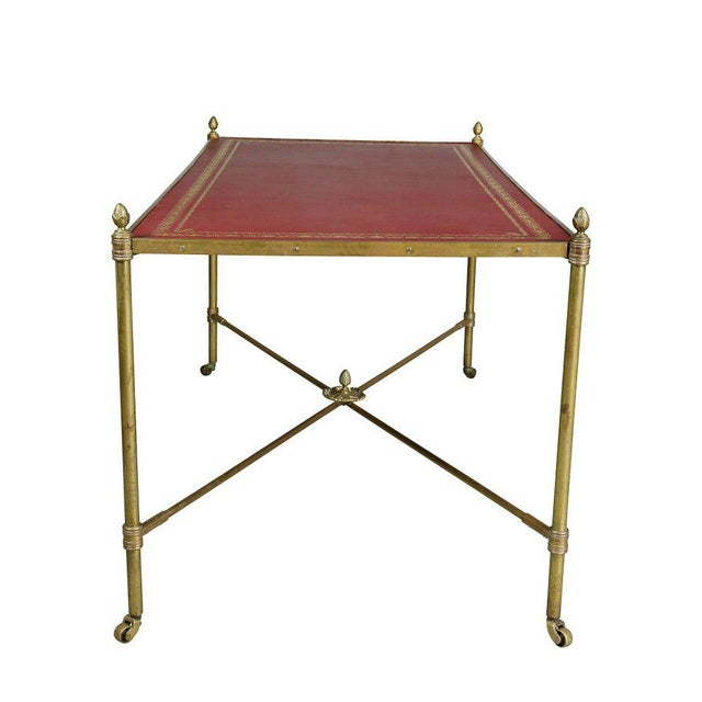 Metal Directoire Style Brass and Leather Coffee Table For Sale - Image 7 of 10