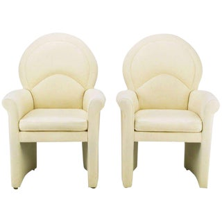 Pair Art Deco Revival Rolled Arm Club Chairs In Ivory Wool For Sale