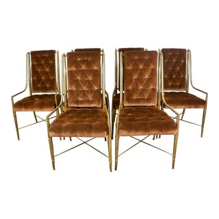 """Vintage Brass Faux Bamboo """"Imperial"""" Weiman / Warren Lloyd Mastercraft Dining Chairs- Set of 6 For Sale"""