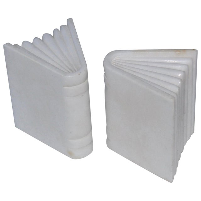 1950s Italian Carrara Marble Bookends For Sale - Image 10 of 10