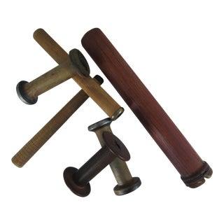 Vintage Industrial Wood Spools - Set of 6 For Sale