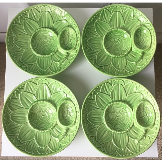 Vintage Olfaire Faience Artichoke Dishes - Set of 4 - Image 3 of 8