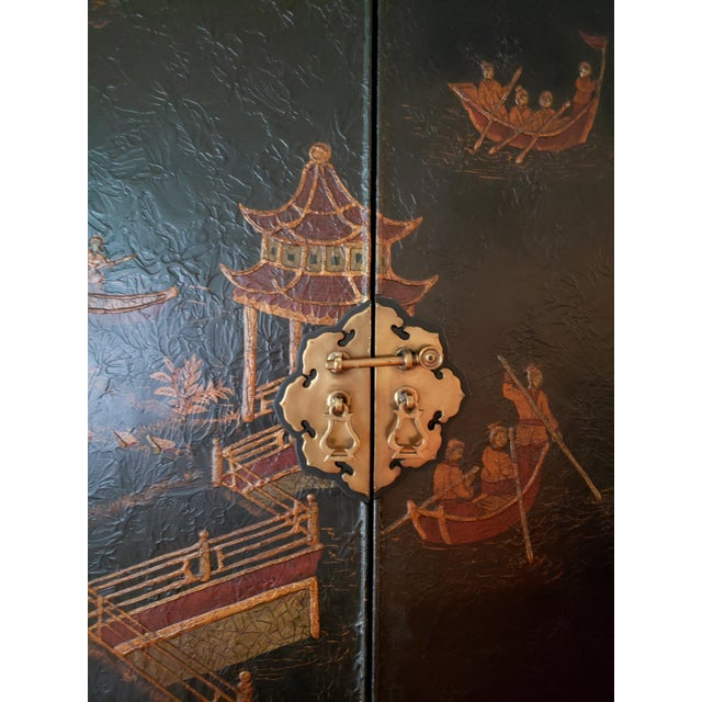 Late 20th Century Maitland Smith Chinoiserie Entertainment Cabinet For Sale - Image 5 of 12