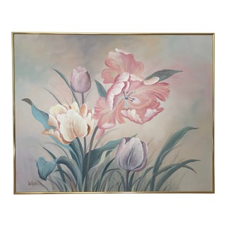 1980s Vintage Large Oil on Canvas Floral Painting by Lee Reynolds For Sale