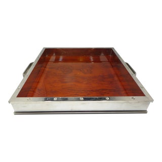 Vintage Cartier Style Chromed Steel and Exotic Wood Serving Tray For Sale