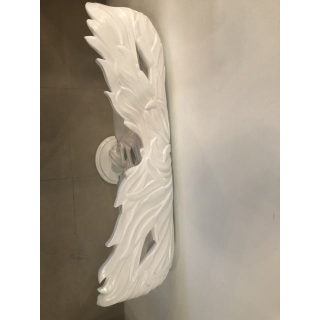 Vintage Palm Frond Leaf White Lacquered Wall Console Table For Sale - Image 9 of 12