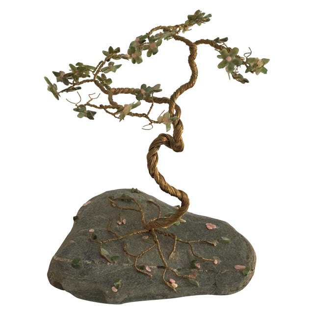Vintage Hand Wired Tree on Stone - Image 1 of 6