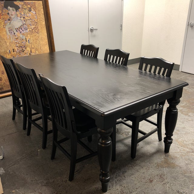 Pottery Barn Francisco Black Table & Six Chairs - Dining Set - Image 4 of 8