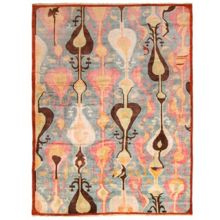 """Contemporary Geometric William Morris Pastel Wool Rug-9'2'x12'2"""" For Sale"""