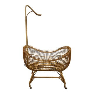 1950s Vintage Franco Albini Style Bamboo Cradle For Sale