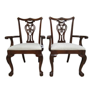 Modern Pennsylvania House Ball Claw Chippendale Dining Room Arm Chairs- A Pair For Sale